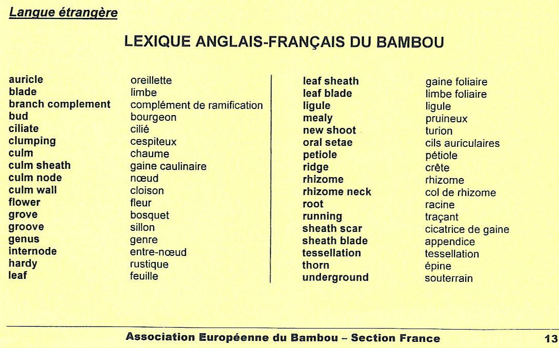 vocabulaire anglais fran ais relatif au bambou aeb france. Black Bedroom Furniture Sets. Home Design Ideas